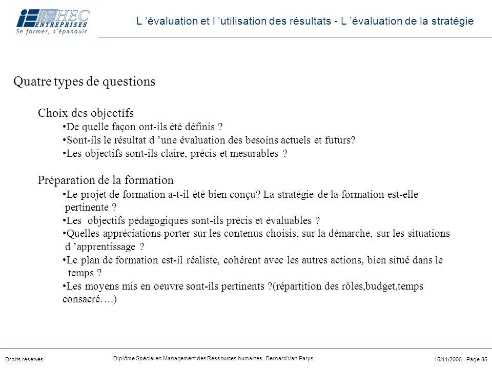 Droits réservés Diplôme Spécial en Management des Ressources humaines - Bernard Van Parys 15/11/2006 - Page 85 Quatre types de questions Choix des obj