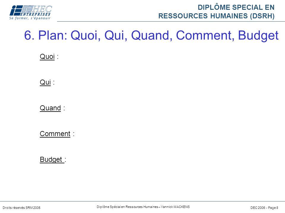 DIPLÔME SPECIAL EN RESSOURCES HUMAINES (DSRH) Droits réservés SRM 2005 Diplôme Spécial en Ressources Humaines – Yannick WACKENS DEC 2006 - Page 8 Quoi : Qui : Quand : Comment : Budget : 6.