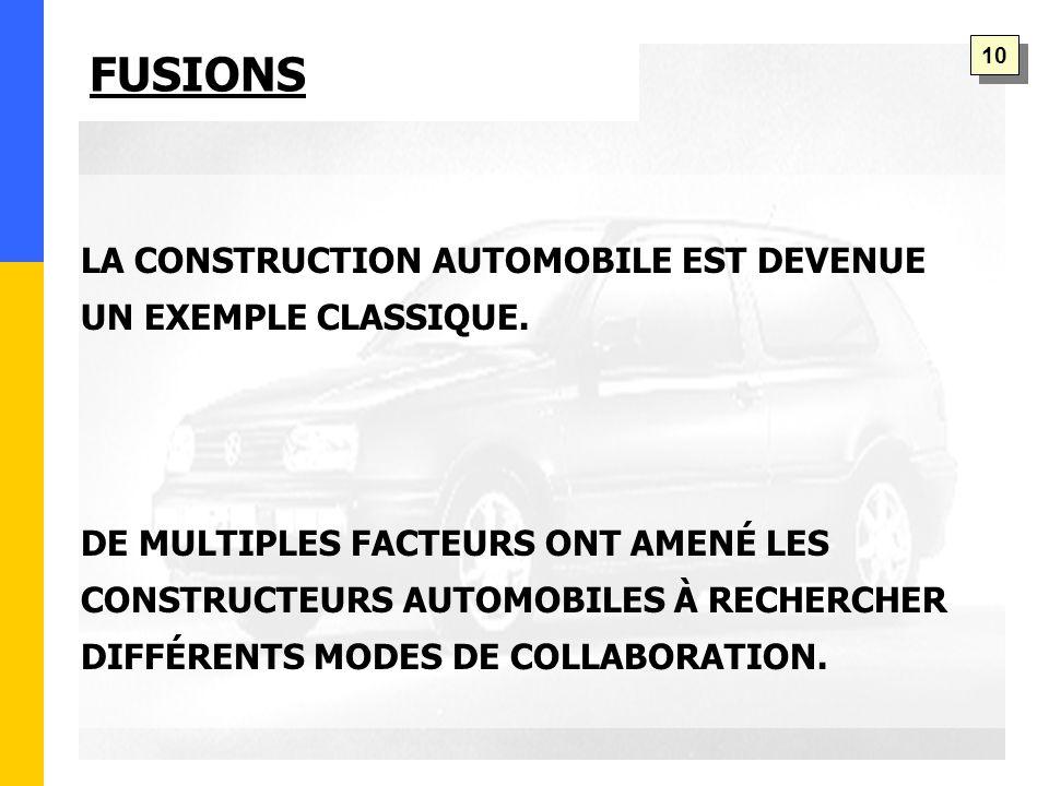 FUSIONS LA CONSTRUCTION AUTOMOBILE EST DEVENUE UN EXEMPLE CLASSIQUE.