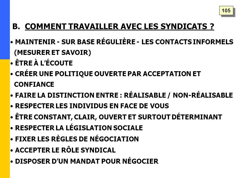 B. COMMENT TRAVAILLER AVEC LES SYNDICATS .