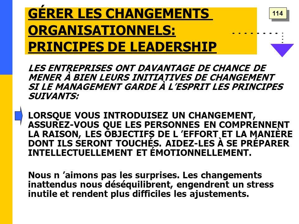 GÉRER LES CHANGEMENTS ORGANISATIONNELS: PRINCIPES DE LEADERSHIP LES ENTREPRISES ONT DAVANTAGE DE CHANCE DE MENER À BIEN LEURS INITIATIVES DE CHANGEMENT SI LE MANAGEMENT GARDE À L'ESPRIT LES PRINCIPES SUIVANTS: Nous n 'aimons pas les surprises.