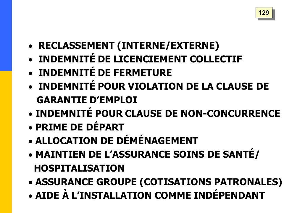  RECLASSEMENT (INTERNE/EXTERNE)  INDEMNITÉ DE LICENCIEMENT COLLECTIF  INDEMNITÉ DE FERMETURE  INDEMNITÉ POUR VIOLATION DE LA CLAUSE DE GARANTIE D'EMPLOI  INDEMNITÉ POUR CLAUSE DE NON-CONCURRENCE  PRIME DE DÉPART  ALLOCATION DE DÉMÉNAGEMENT  MAINTIEN DE L'ASSURANCE SOINS DE SANTÉ/ HOSPITALISATION  ASSURANCE GROUPE (COTISATIONS PATRONALES)  AIDE À L'INSTALLATION COMME INDÉPENDANT 129