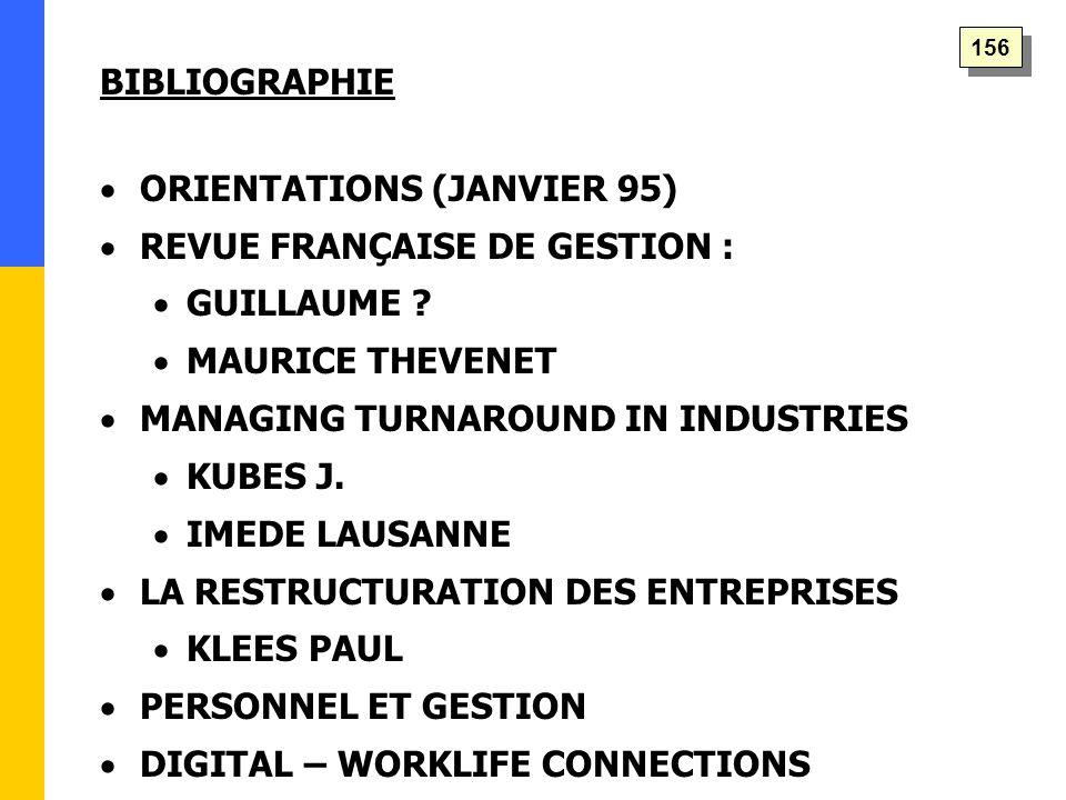 BIBLIOGRAPHIE   ORIENTATIONS (JANVIER 95)   REVUE FRANÇAISE DE GESTION :   GUILLAUME ?   MAURICE THEVENET   MANAGING TURNAROUND IN INDUSTRIE