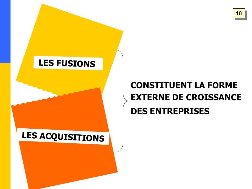 LES FUSIONS LES ACQUISITIONS CONSTITUENT LA FORME EXTERNE DE CROISSANCE DES ENTREPRISES 18