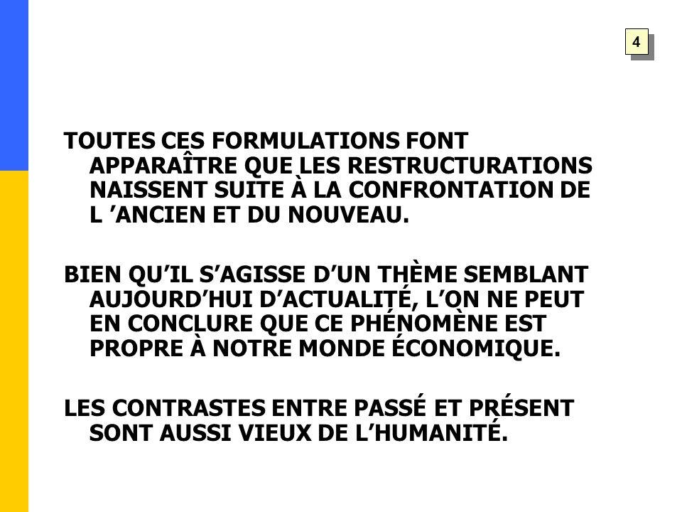 TOUTES CES FORMULATIONS FONT APPARAÎTRE QUE LES RESTRUCTURATIONS NAISSENT SUITE À LA CONFRONTATION DE L 'ANCIEN ET DU NOUVEAU.