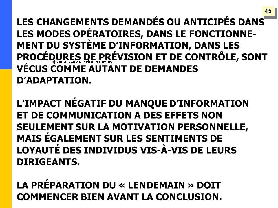 LES CHANGEMENTS DEMANDÉS OU ANTICIPÉS DANS LES MODES OPÉRATOIRES, DANS LE FONCTIONNE- MENT DU SYSTÈME D'INFORMATION, DANS LES PROCÉDURES DE PRÉVISION ET DE CONTRÔLE, SONT VÉCUS COMME AUTANT DE DEMANDES D'ADAPTATION.