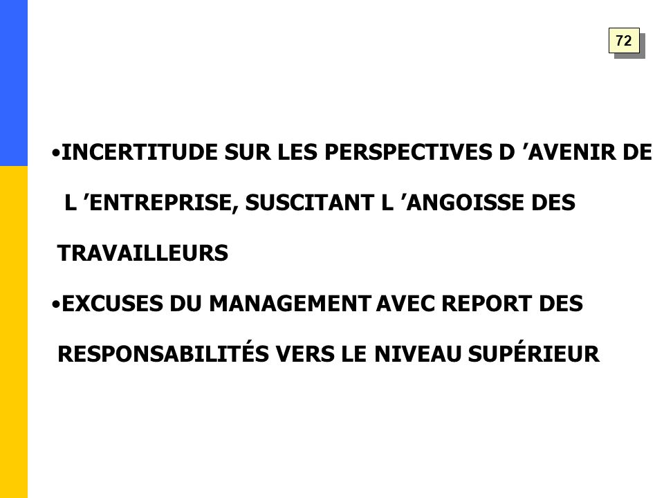 INCERTITUDE SUR LES PERSPECTIVES D 'AVENIR DE L 'ENTREPRISE, SUSCITANT L 'ANGOISSE DES TRAVAILLEURS EXCUSES DU MANAGEMENT AVEC REPORT DES RESPONSABILITÉS VERS LE NIVEAU SUPÉRIEUR 72