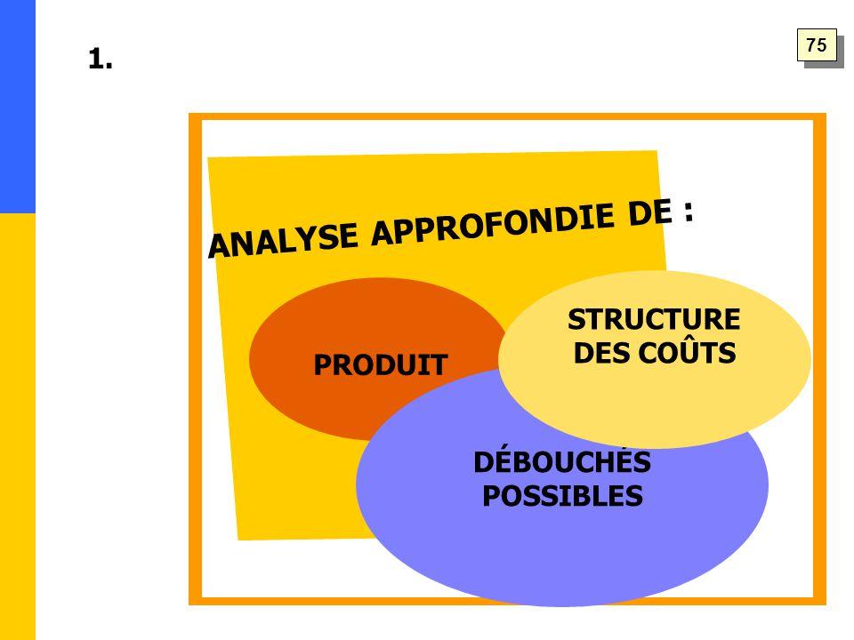 ANALYSE APPROFONDIE DE : 1. PRODUIT DÉBOUCHÉS POSSIBLES STRUCTURE DES COÛTS 75