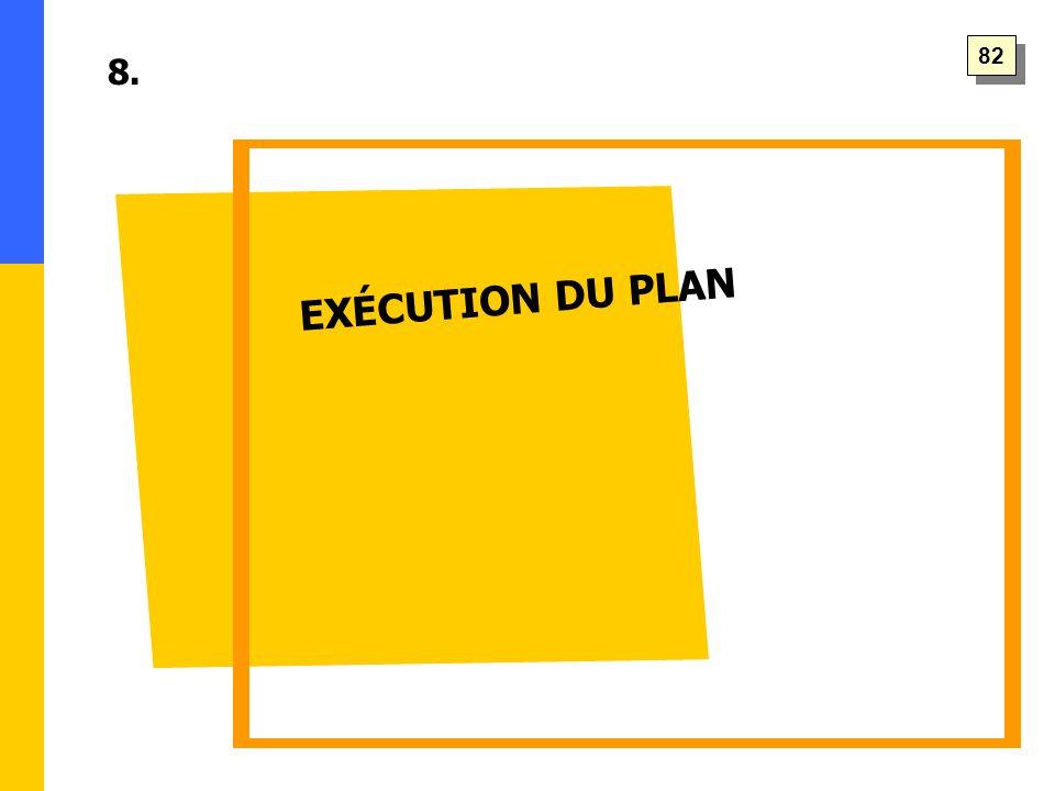 EXÉCUTION DU PLAN 8. 82