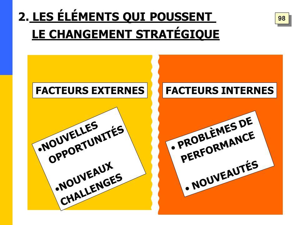 NOUVELLES OPPORTUNITÉS NOUVEAUX CHALLENGES PROBLÈMES DE PERFORMANCE NOUVEAUTÉS 2.