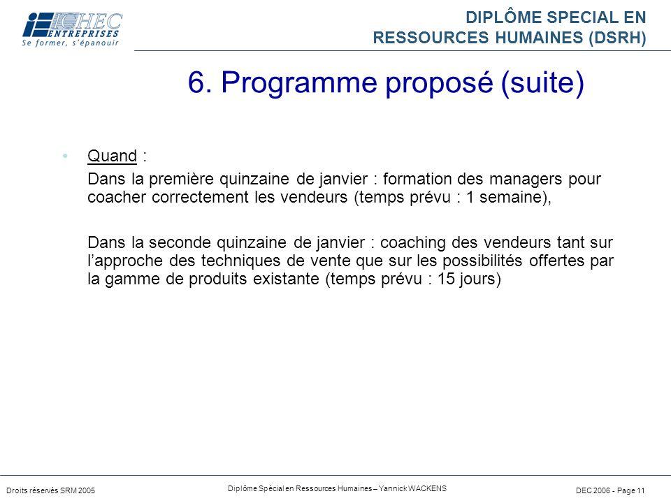 DIPLÔME SPECIAL EN RESSOURCES HUMAINES (DSRH) Droits réservés SRM 2005 Diplôme Spécial en Ressources Humaines – Yannick WACKENS DEC 2006 - Page 11 Qua