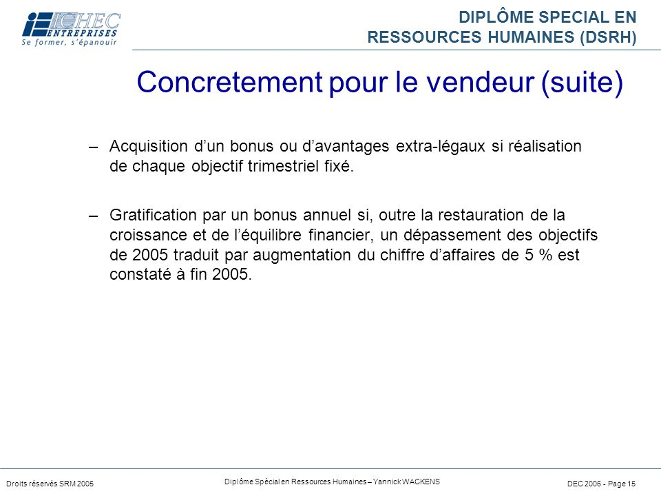 DIPLÔME SPECIAL EN RESSOURCES HUMAINES (DSRH) Droits réservés SRM 2005 Diplôme Spécial en Ressources Humaines – Yannick WACKENS DEC 2006 - Page 15 –Ac