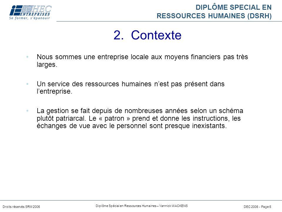 DIPLÔME SPECIAL EN RESSOURCES HUMAINES (DSRH) Droits réservés SRM 2005 Diplôme Spécial en Ressources Humaines – Yannick WACKENS DEC 2006 - Page 6 Nous