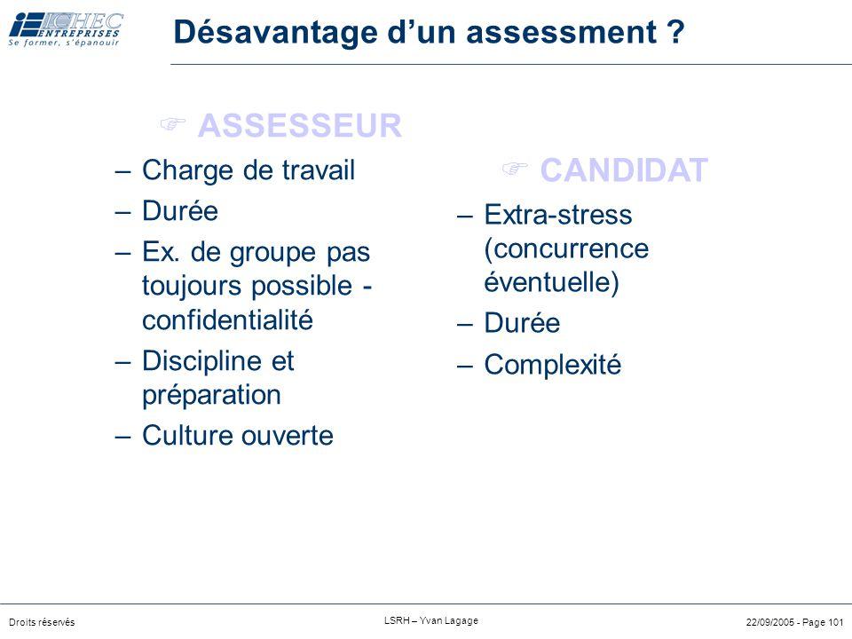 Droits réservés LSRH – Yvan Lagage 22/09/2005 - Page 100 Avantages d'un assessment ? Validité prédictive Approche comportementale Moins d'auto-évaluat