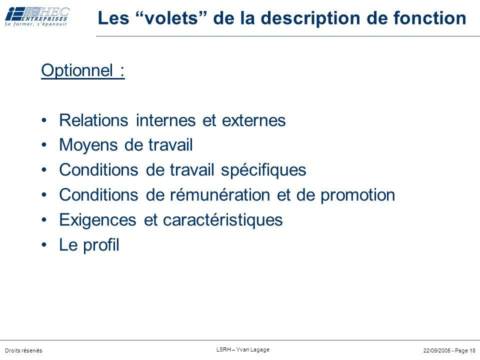 """Droits réservés LSRH – Yvan Lagage 22/09/2005 - Page 17 Les """"volets"""" de la description de fonction L'essentiel : But de la fonction résultats attendus"""