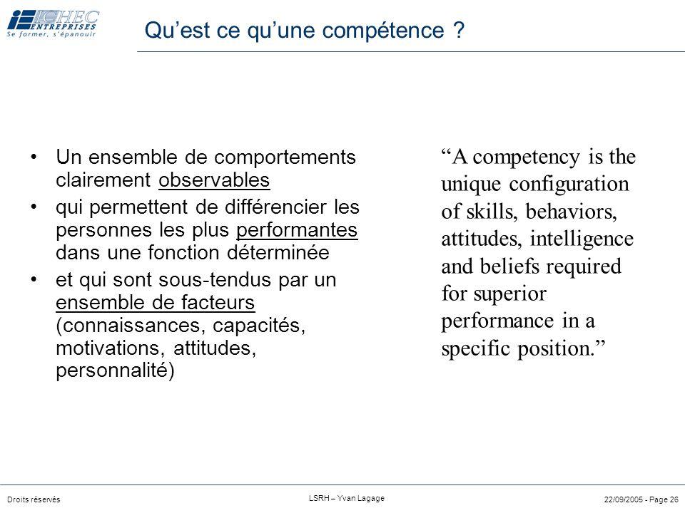 Droits réservés LSRH – Yvan Lagage 22/09/2005 - Page 25 Méthode d'inférence des critères culturels Réfléchissez aux »valeurs »normes »dimensions éthiq