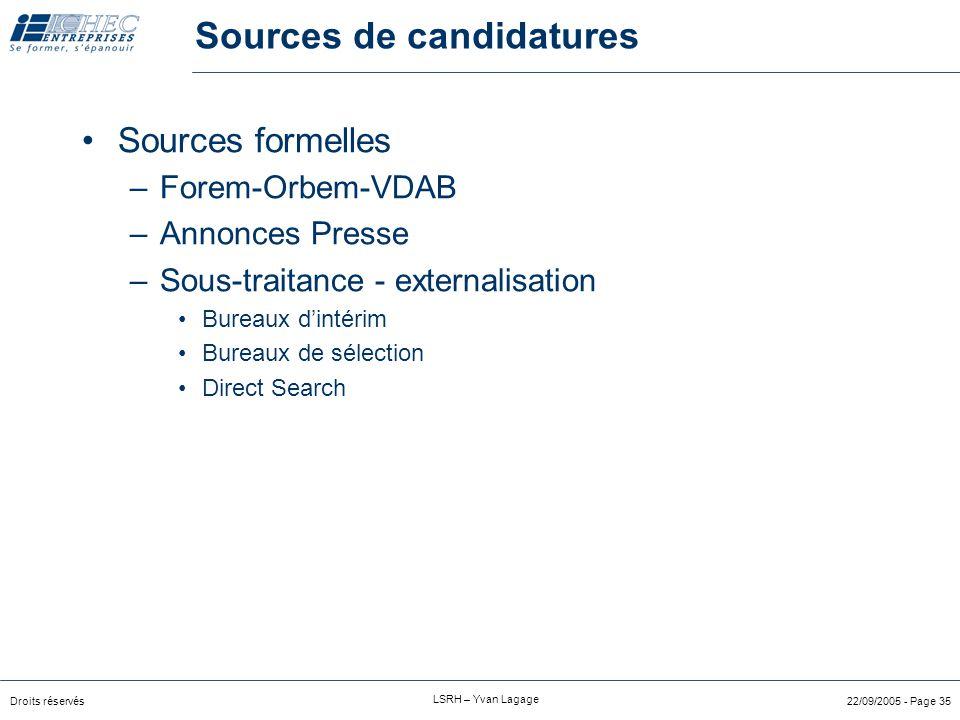 Droits réservés LSRH – Yvan Lagage 22/09/2005 - Page 34 Sources de candidatures Sources internes –recrutement interne Via annonces internes, valves, i