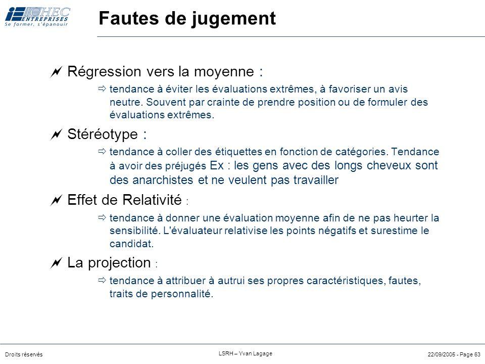 """Droits réservés LSRH – Yvan Lagage 22/09/2005 - Page 62 Fautes de jugement  Effet """"première impression"""" (Primacy-effect) :  tendance à se fier à ses"""