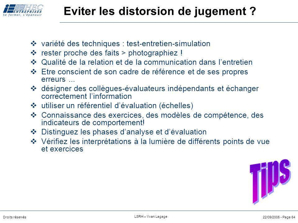 Droits réservés LSRH – Yvan Lagage 22/09/2005 - Page 63 Fautes de jugement  Régression vers la moyenne :  tendance à éviter les évaluations extrêmes