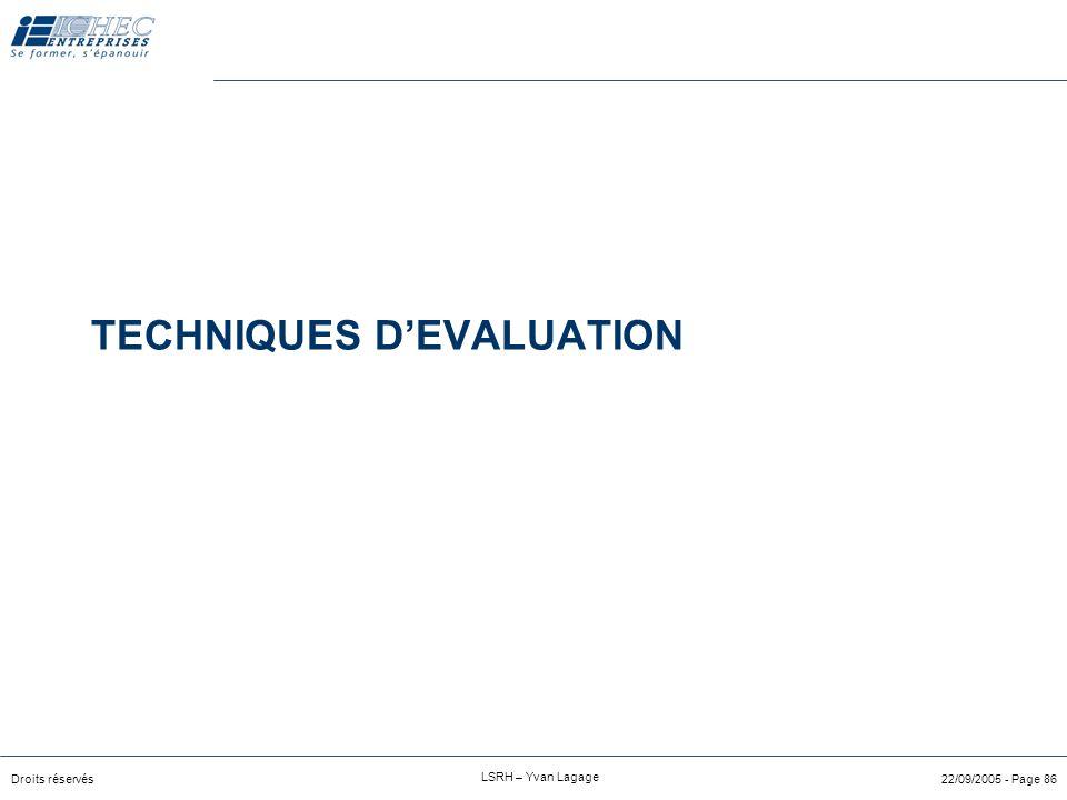 """Droits réservés LSRH – Yvan Lagage 22/09/2005 - Page 85 Technique """"entonnoir"""" Pourquoi avez-vous décidé de travailler dans un service RH ? Avez-vous e"""