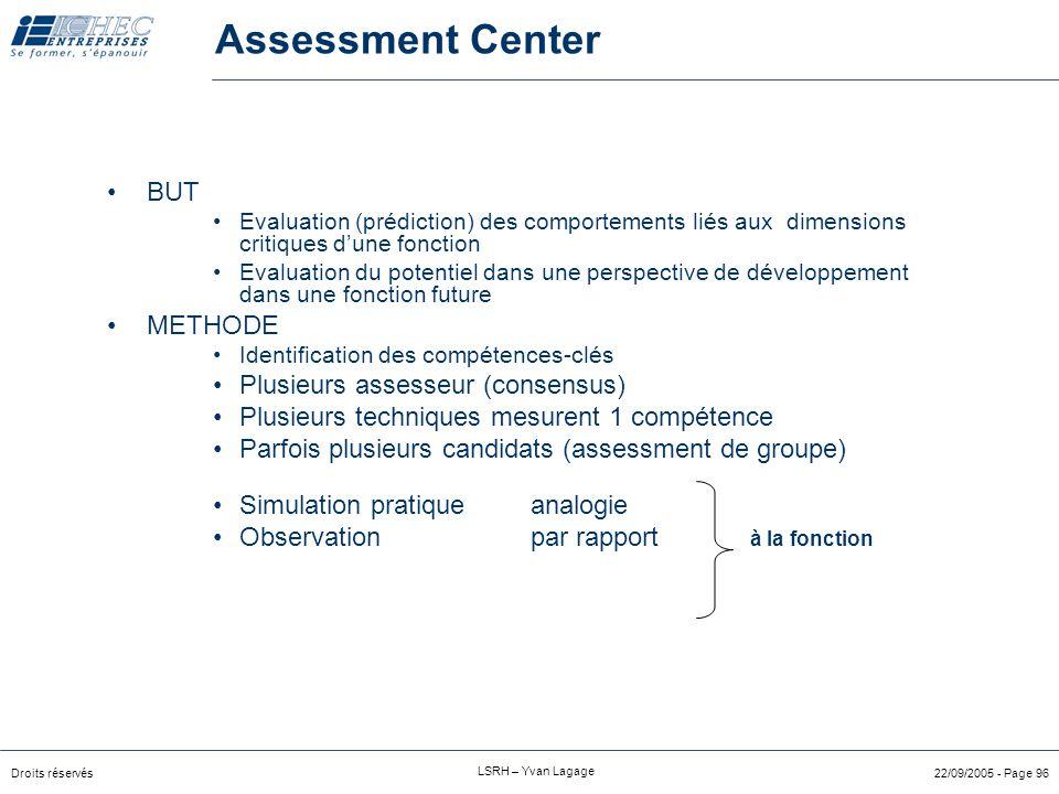 Droits réservés LSRH – Yvan Lagage 22/09/2005 - Page 95 L'assessment center est un processus d'évaluation dans lequel un individu ou un groupe sont év