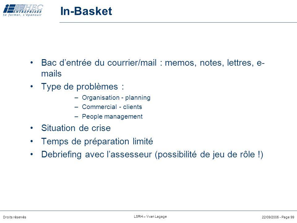 Droits réservés LSRH – Yvan Lagage 22/09/2005 - Page 98 Exemple de matrice compétence/technique