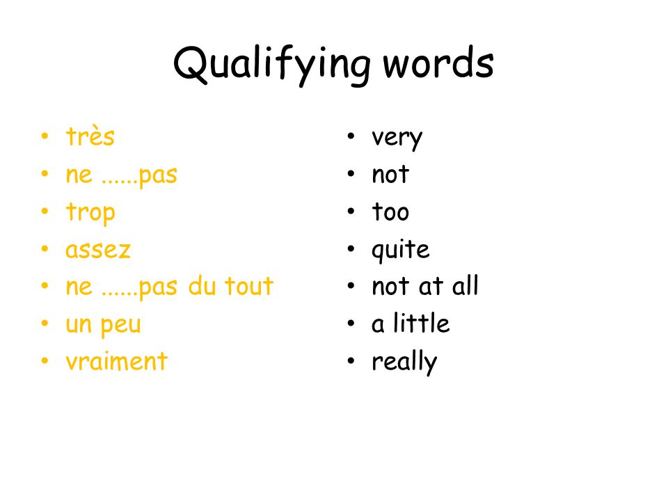 Qualifying words très ne......pas trop assez ne......pas du tout un peu vraiment very not too quite not at all a little really