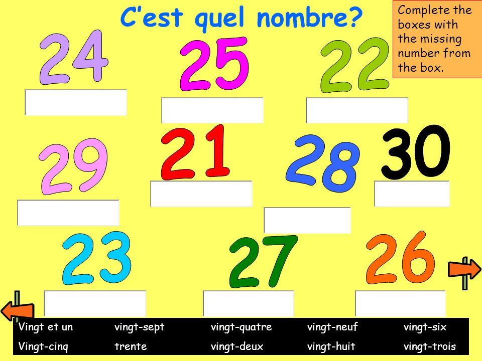 C'est quel nombre? Complete the boxes with the missing number from the box. Vingt et unvingt-septvingt-quatrevingt-neufvingt-six Vingt-cinqtrentevingt