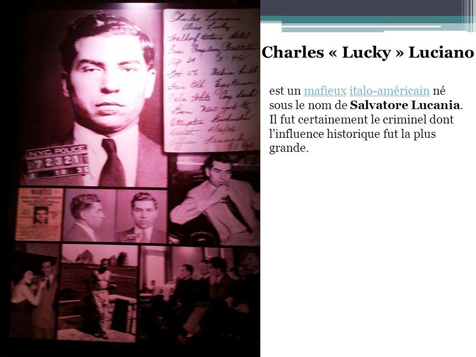 Charles « Lucky » Luciano est un mafieux italo-américain né sous le nom de Salvatore Lucania.mafieuxitalo-américain Il fut certainement le criminel dont l influence historique fut la plus grande.