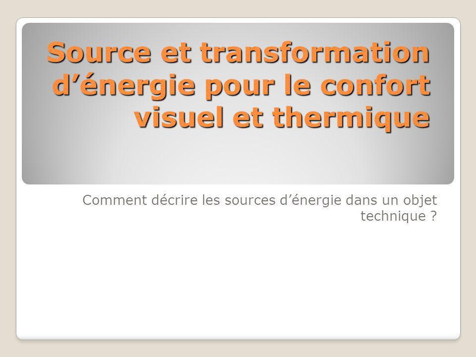 Source et transformation d'énergie pour le confort visuel et thermique Comment décrire les sources d'énergie dans un objet technique ?