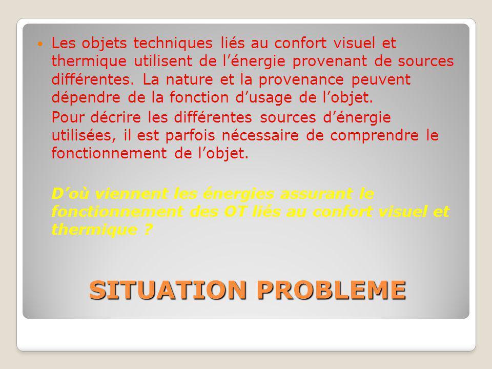 SITUATION PROBLEME Les objets techniques liés au confort visuel et thermique utilisent de l'énergie provenant de sources différentes. La nature et la