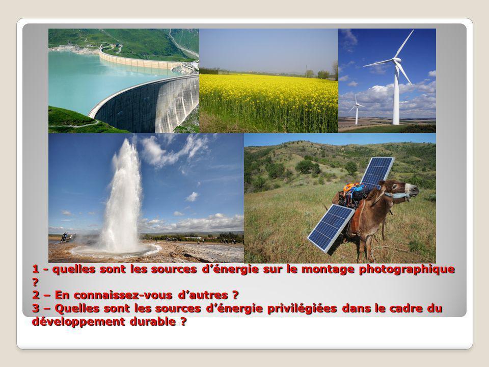 1 - quelles sont les sources d'énergie sur le montage photographique ? 2 – En connaissez-vous d'autres ? 3 – Quelles sont les sources d'énergie privil