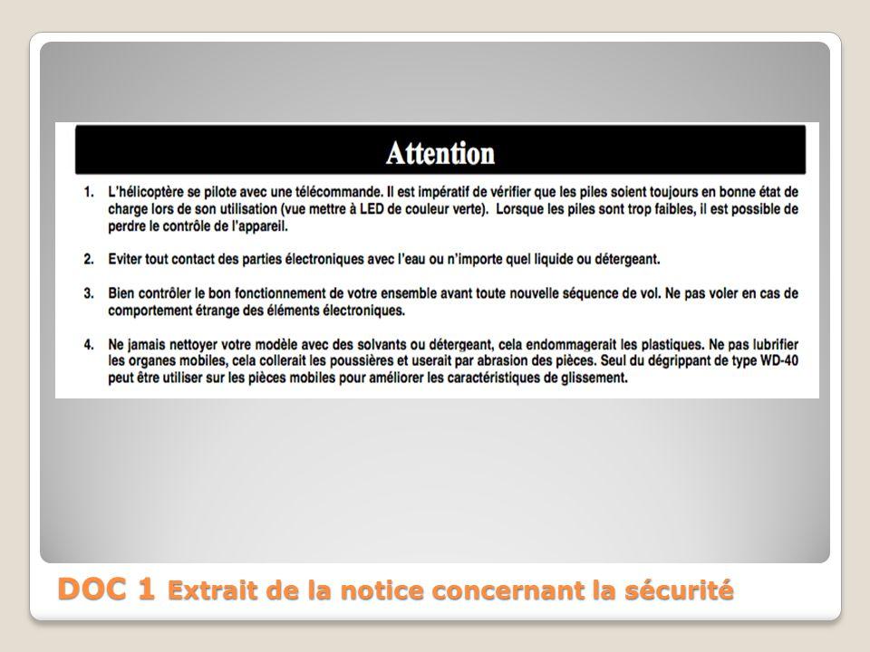 DOC 1 Extrait de la notice concernant la sécurité