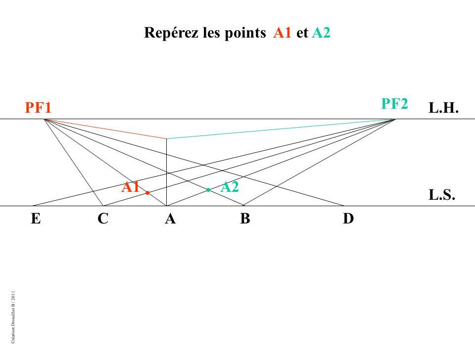 Création Drouillot B / 2011 L.H. L.S. PF1 PF2 ABCDE Repérez les points A1 et A2 A2A1