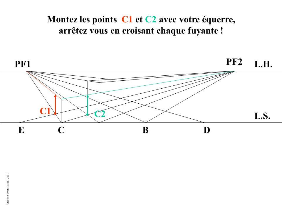 Création Drouillot B / 2011 Montez les points C1 et C2 avec votre équerre, arrêtez vous en croisant chaque fuyante .