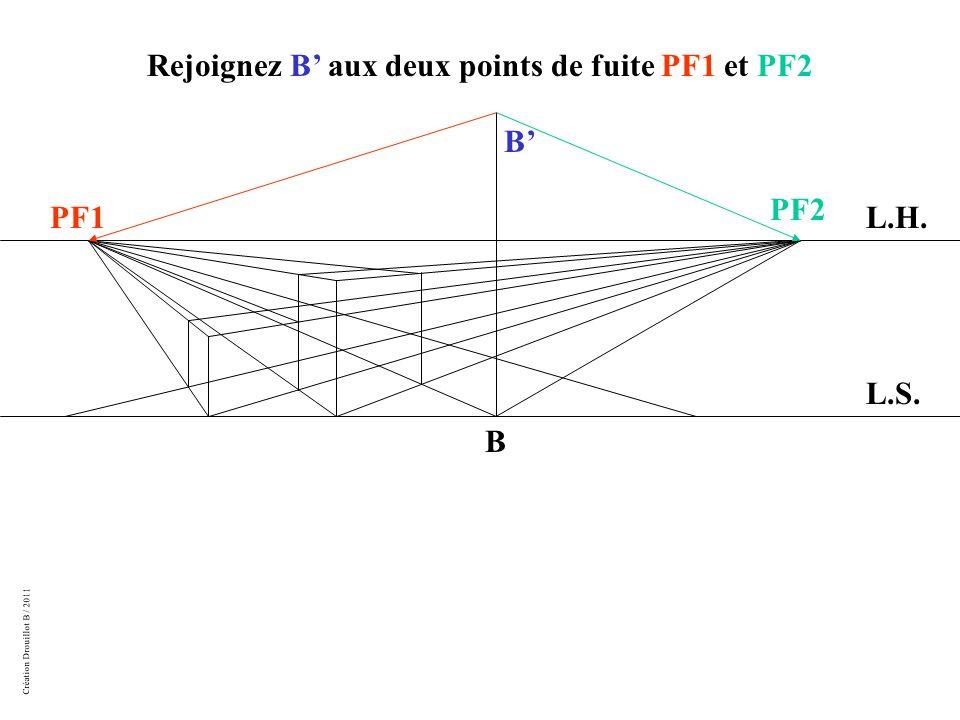 Création Drouillot B / 2011 L.H. L.S. PF1 PF2 B Rejoignez B' aux deux points de fuite PF1 et PF2 B'