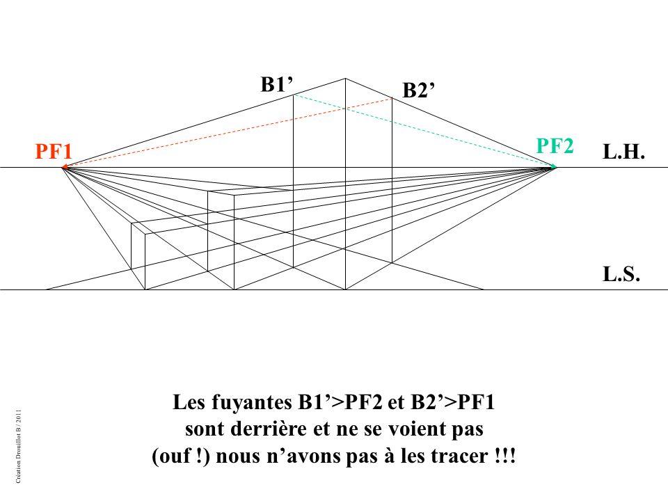 Création Drouillot B / 2011 Les fuyantes B1'>PF2 et B2'>PF1 sont derrière et ne se voient pas (ouf !) nous n'avons pas à les tracer !!.