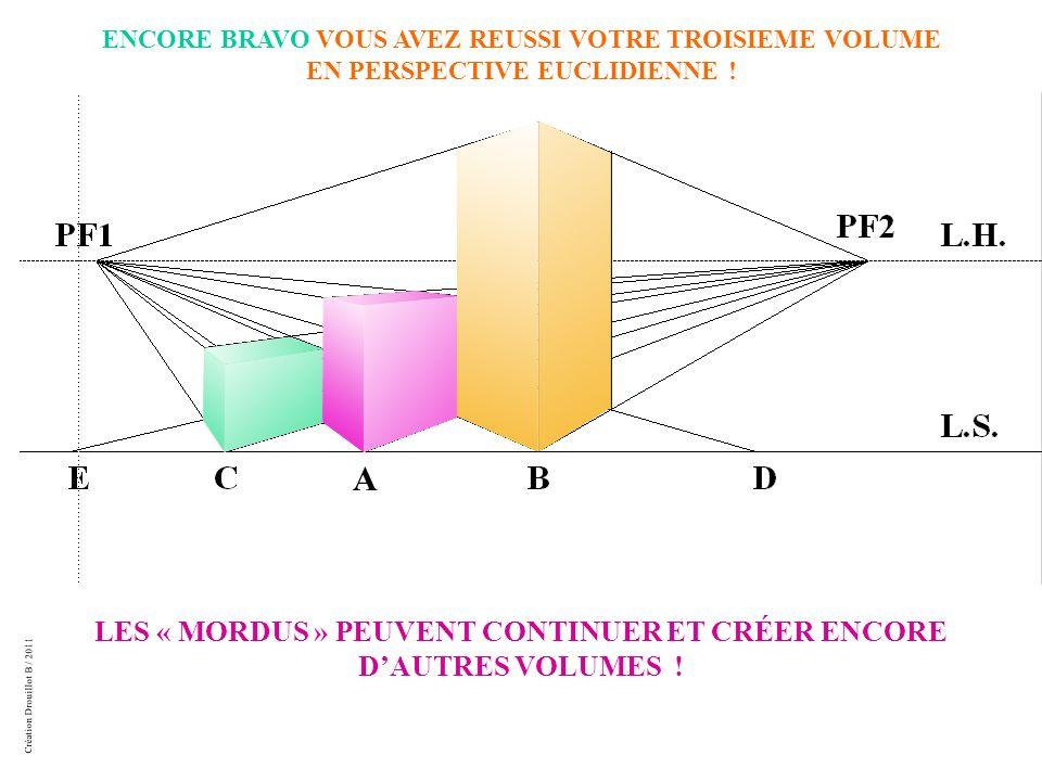 Création Drouillot B / 2011 ENCORE BRAVO VOUS AVEZ REUSSI VOTRE TROISIEME VOLUME EN PERSPECTIVE EUCLIDIENNE .
