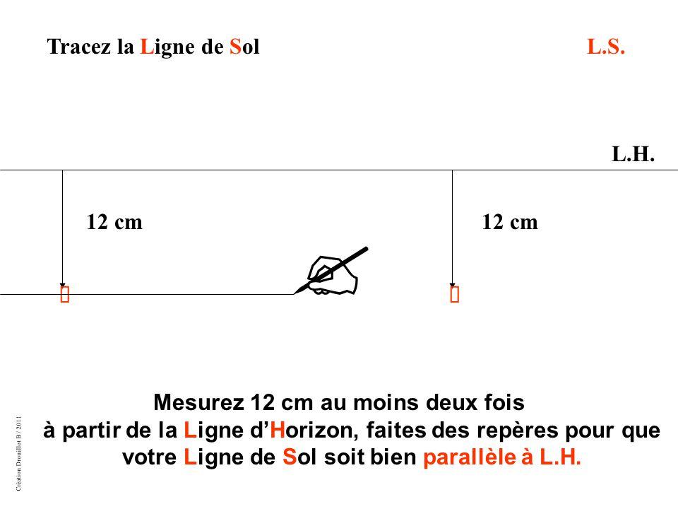 Création Drouillot B / 2011 Mesurez 12 cm au moins deux fois à partir de la Ligne d'Horizon, faites des repères pour que votre Ligne de Sol soit bien parallèle à L.H.