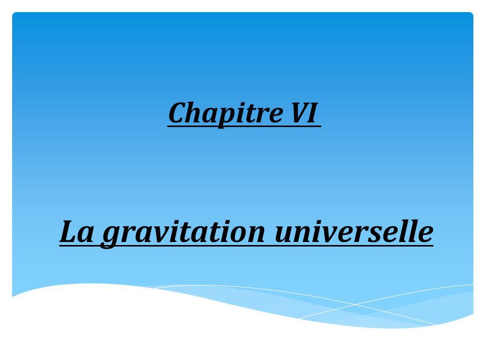 Chapitre VI La gravitation universelle