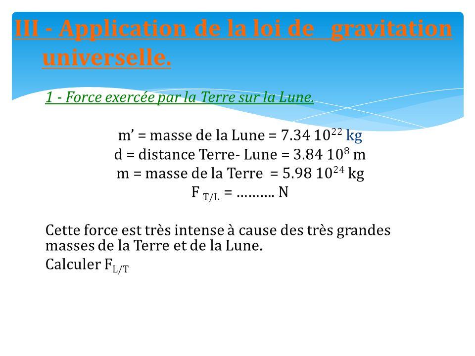 1 - Force exercée par la Terre sur la Lune. m' = masse de la Lune = 7.34 10 22 kg d = distance Terre- Lune = 3.84 10 8 m m = masse de la Terre = 5.98