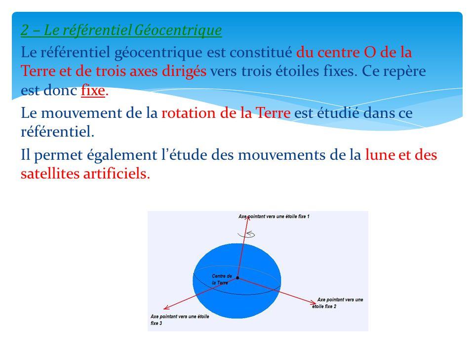 2 – Le référentiel Géocentrique Le référentiel géocentrique est constitué du centre O de la Terre et de trois axes dirigés vers trois étoiles fixes. C