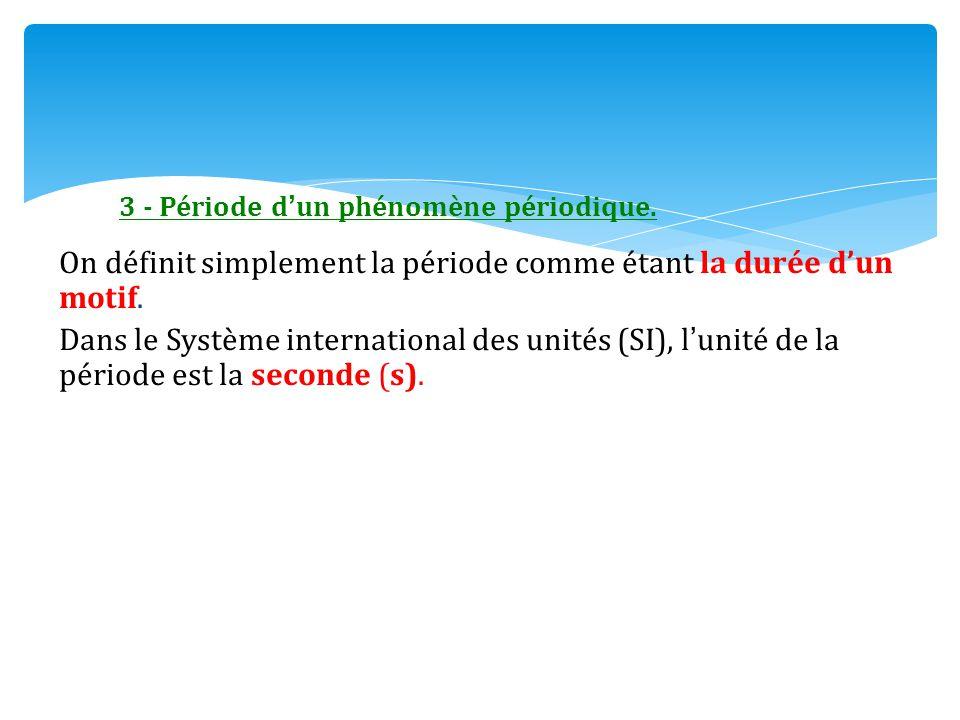 3 - Période d'un phénomène périodique. On définit simplement la période comme étant la durée d'un motif. Dans le Système international des unités (SI)