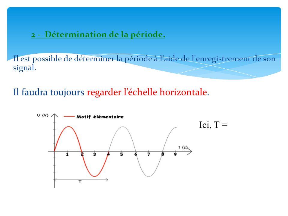 2 - Détermination de la période. Il est possible de déterminer la période à l'aide de l'enregistrement de son signal. Il faudra toujours regarder l'éc