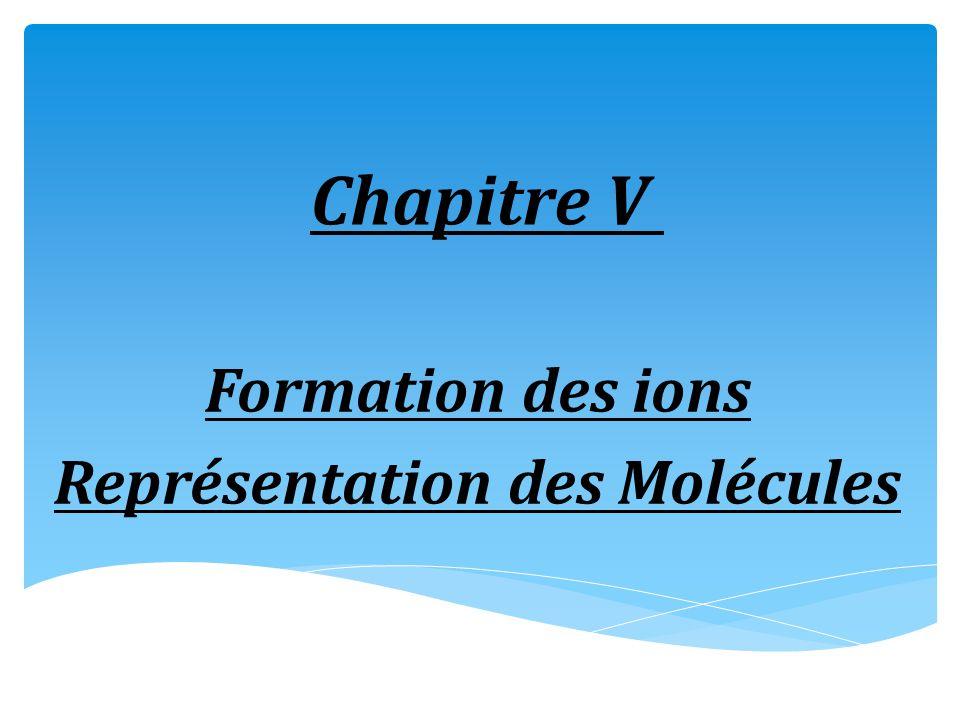 Chapitre V Formation des ions Représentation des Molécules