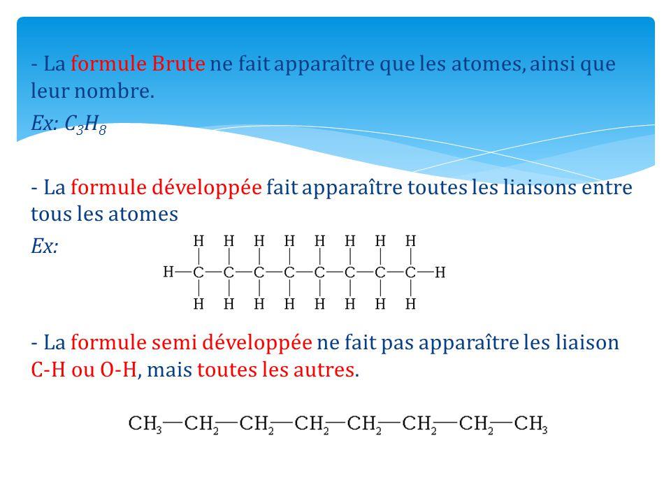 - La formule Brute ne fait apparaître que les atomes, ainsi que leur nombre. Ex: C 3 H 8 - La formule développée fait apparaître toutes les liaisons e