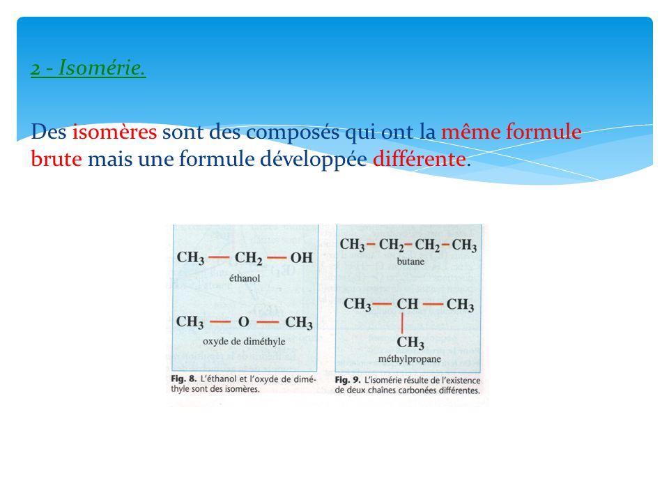 2 - Isomérie. Des isomères sont des composés qui ont la même formule brute mais une formule développée différente.