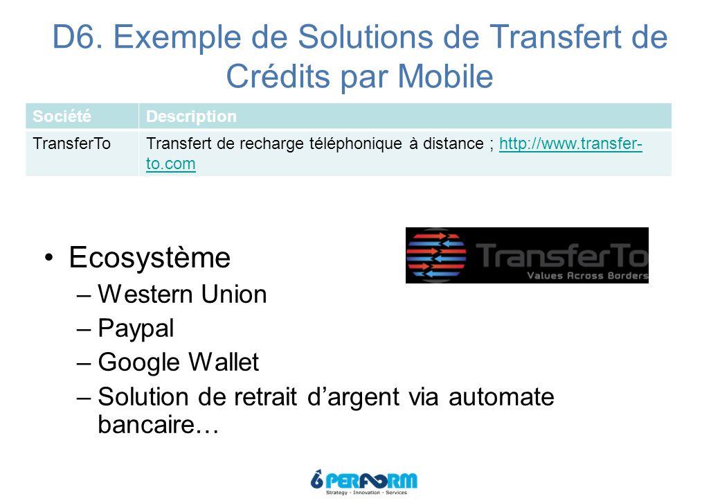 D6. Exemple de Solutions de Transfert de Crédits par Mobile SociétéDescription TransferToTransfert de recharge téléphonique à distance ; http://www.tr