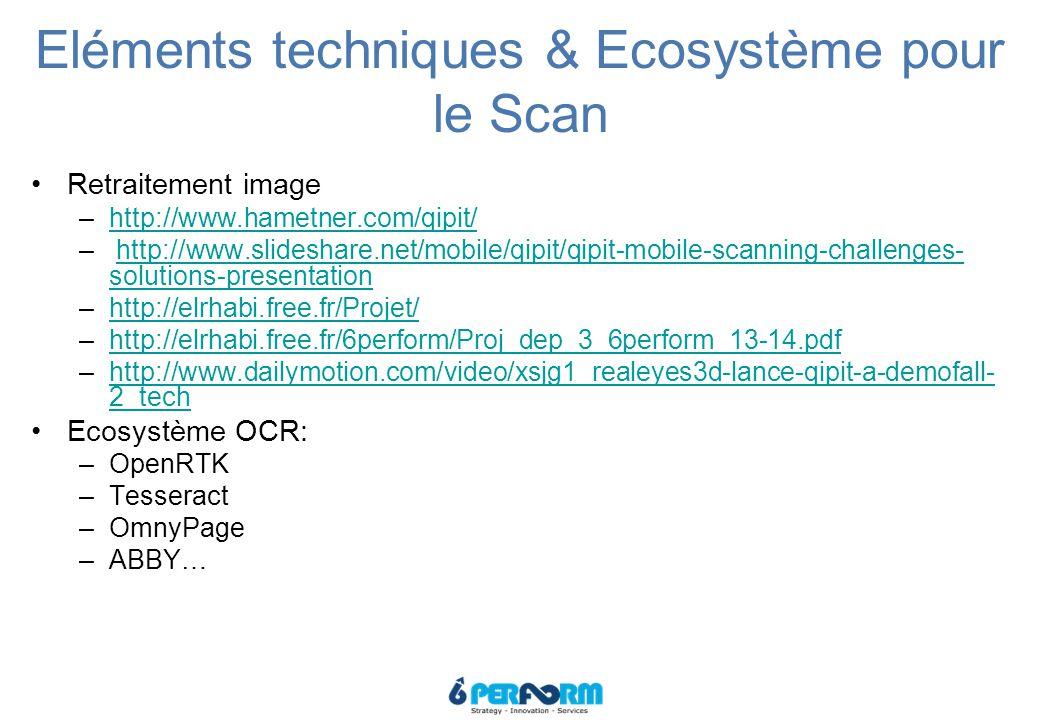 Eléments techniques & Ecosystème pour le Scan Retraitement image –http://www.hametner.com/qipit/http://www.hametner.com/qipit/ – http://www.slideshare.net/mobile/qipit/qipit-mobile-scanning-challenges- solutions-presentationhttp://www.slideshare.net/mobile/qipit/qipit-mobile-scanning-challenges- solutions-presentation –http://elrhabi.free.fr/Projet/http://elrhabi.free.fr/Projet/ –http://elrhabi.free.fr/6perform/Proj_dep_3_6perform_13-14.pdfhttp://elrhabi.free.fr/6perform/Proj_dep_3_6perform_13-14.pdf –http://www.dailymotion.com/video/xsjg1_realeyes3d-lance-qipit-a-demofall- 2_techhttp://www.dailymotion.com/video/xsjg1_realeyes3d-lance-qipit-a-demofall- 2_tech Ecosystème OCR: –OpenRTK –Tesseract –OmnyPage –ABBY…