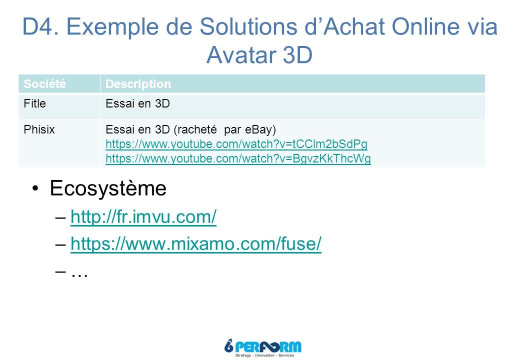 D4. Exemple de Solutions d'Achat Online via Avatar 3D SociétéDescription FitleEssai en 3D PhisixEssai en 3D (racheté par eBay) https://www.youtube.com